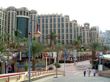 the Eilat Hilton from the canal bridge